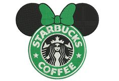 Mickey mouse embroidery with starbucks logo by MyMemoryDesign Starbucks Art, Disney Starbucks, Disney Crafts, Disney Fun, Starbucks Wallpaper, Labor Day Quotes, Hero Crafts, Vinyl Clothing, Coffee Logo