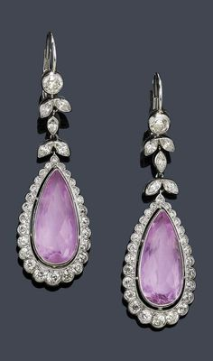A PAIR OF BELLE EPOQUE IMPERIAL TOPAZ AND DIAMOND EAR PENDANTS, FRENCH, CIRCA…