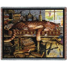 Remington the Horticulturist Woven Cat Throw by Charles Wysocki. If you know a cat lover, then you are probably correct to know they love artist, Charles Wysocki' and his cat characters that he captures perfectly. Famous and fun Remington the Horticulturist - Cat Throw and is ideal for the cat lover, even if they don't really have a green thumb. This throw blanket always make a nice gift.