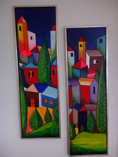 Cubism Art, Acrylic Painting For Beginners, Alternative Art, Painted Sticks, Art N Craft, Paintings I Love, Naive Art, Wall Art Designs, Folk Art