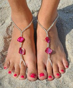 Love this Pink Shell Barefoot Sandal by SunSandals on #zulily! #zulilyfinds