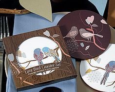 Love Birds Cork Coaster Favors - so sweet! These are perfect for a rustic, garden, vineyard or other outdoor wedding or bridal shower! - Wine Country Occasions, www.winecountryoccasions.com
