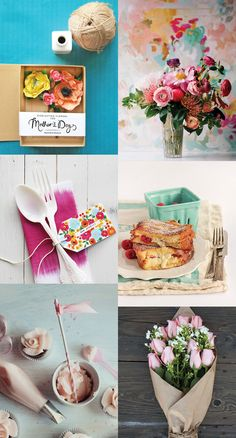 {1. paper flowers in a box 2. bouquet 3. gift tag 4. strawberry on french toast 5. icing designs 6. pink rozes } Some last-minute Mothers Day inspiration for you from Sweet Kiaras moodboard at pinterest ... flowers and breakfast...