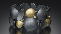 Oxidized Sterling Silver, 18k Gold and White Diamonds