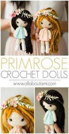 Primrose Crochet Dolls - free pattern and tutorial to make these whimsical dolls with beautiful details!