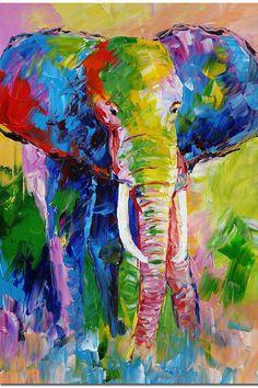 Colorido arte de elefante por el cuchillo de por FolkcultureGallery