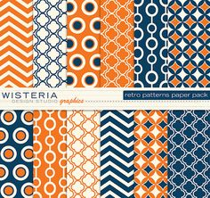 Retro Patterns Paper Pack - 11 x 14 - Blue Orange Ivory - INSTANT DOWNLOAD - For Personal & Commercial Use - Digital Designs