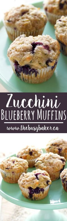 These Zucchini Blueberry Muffins are made with unsweetened applesauce, grated zucchini and fresh juicy blueberries for the perfect healthy snack! Recipe from thebusybaker.ca! via @busybakerblog