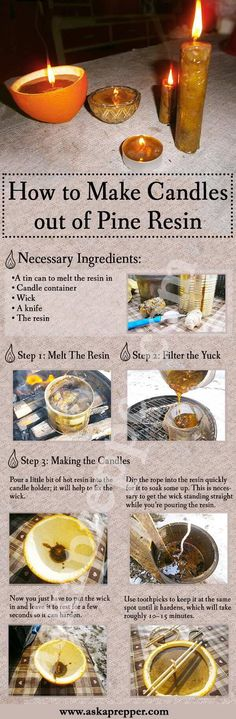 DIY step by step Candles out of Pine Resin Infografic AKSAPREPPER By Arminius The pine tree is one of the most overlooked natural resources as it has multiple survival uses. The entire tree is edible, from the bark to the pine Survival Life Hacks, Camping Survival, Survival Prepping, Survival Skills, Emergency Preparedness, Survival Books, Survival Shelter, Wilderness Survival, Survival Videos