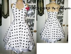 1950s style Custom Made Polka Dot Solid V by DESIGNSByCandiigirlz, $55.00