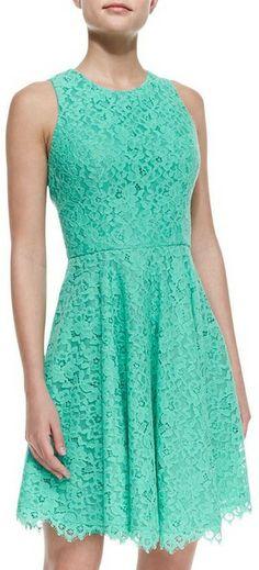 Shoshanna Sleeveless Full Skirt Lace Dress