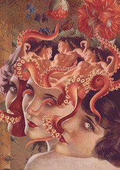 (1) Tumblr Art And Illustration, Instagram Prints, Octopus Art, Psychedelic Art, Horror Art, Surreal Art, Aesthetic Art, Oeuvre D'art, Sculpture Art
