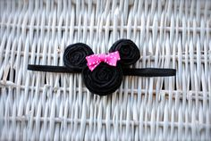 Adorable Fabric Flower Minnie Mouse with RED or by MadiMosBows, $6.50 www.madimosbows.etsy.com