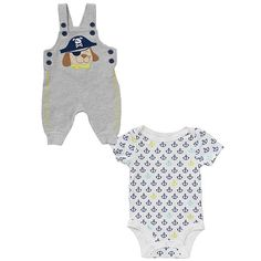 """Koala Baby Boys' 2 Piece Gray/White Pirate Puppy Playwear Set with Short Sleeve Bodysuit and Overalls - Babies R Us  - Babies""""R""""Us"""