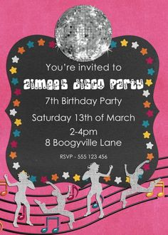 Party Invitations : Mesmerizing Disco Party Invitation with Pink Color Border feat Rotating Disco Light and Human Clip Art complete with Antique Shape Frame combine Good Dog and Open San Font Ideas - Disco Party Invitations