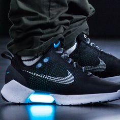 "Nike HyperAdapt 1.0, an innovative sneaker featuring ""adaptive lacing"" technology that's activated by a heel sensor that automatically tightens its laces."
