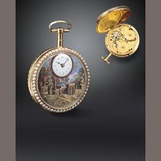 117  A fine and rare enameled gold pearl set cylinder watch with vari colored gold quadruple automaton  Circa 1800, pendant numbered 8323  Gilt movement with separate bridges for time and automata, plain balance, coqueret, hinged gilt cuvette with winding instructions, the enamel dial painted to represent a rural landscape with a river and mountain in the background, the gold automata figures depicting workmen in a cooper's yard, one hammering, the other using a smoothing plane, to one side…