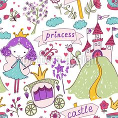 Seamless pattern with fairy princess and her castle. Hand drawn design for Birthday and Baby Shower greeting cards, fabric, wrapping paper, invitation, stationery. Pattern Images, Vector Pattern, Pattern Design, Baby Shower Greeting Cards, Doodle People, Cute Cartoon Girl, Fairy Princesses, Doll Patterns, Vector Art