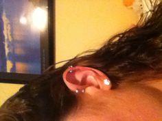 Forward helix piercings