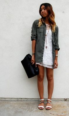 Military style jacket with white dress.