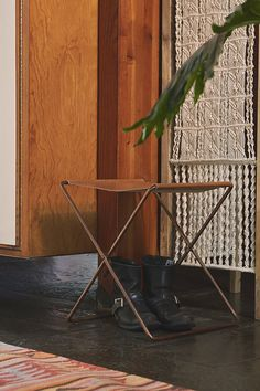 leather sling stool