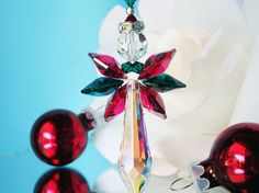 Swarovski Crystal Angel Christmas Ornament by CrystalBlueDesigns