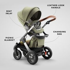 The StokkeTrailz Limited Edition stroller in Nordic Green is outfitted with everything you need for adventures with baby