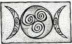 Maiden, Mother, Crone/Three Goddesses/Feminine Triad - I like the simple sketchy aesthetic with the 3 spirals in the center