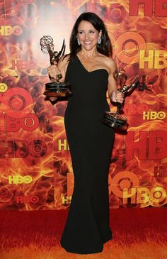 Julia Louis-Dreyfus with her Emmys at the HBO afterparty