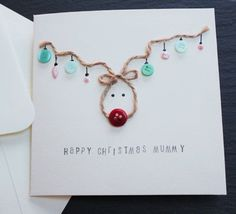 Handmade Christmas Card - Reindeer Christmas Card - for mummy, daddy, teacher, sister, brother, wife, husband, or a name