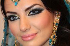 Exotic Arabic Makeup Princess Jasmine Make up Transformation ماكياج العربي Indian Eye Makeup, Exotic Makeup, Indian Eyes, Blue Makeup, Arab Makeup, Hair Makeup, Wedding Smokey Eye, Wedding Eye Makeup, Bridal Makeup