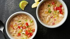 This extra-cheesy, not-too-spicy white chicken chili preps in just 5 minutes. (Go on, have seconds.)