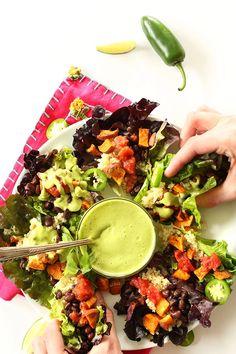 Mexican Quinoa, Sweet Potato Black Bean Salad Cups! Hello healthy, simple plant-based dinner! #vegan #glutenfree #minimalistbaker
