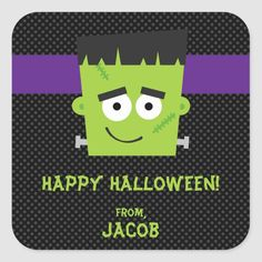 Frankenstein Halloween Sticker Kids Halloween Square Sticker - tap to personalize and get yours #SquareSticker  #halloween #sticker #kids #halloween #sticker Halloween Party Supplies, Halloween Tags, Halloween Party Invitations, Kid Party Favors, Halloween Stickers, Halloween Birthday, Happy Halloween, Halloween Classroom Door, Birthday Parties