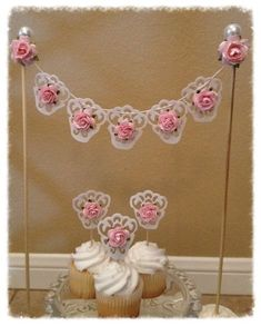 Shabby Chic Cake Bunting and Cupcake Toppers Birthday Decoration for Birthday party Tutu Cupcakes, Birthday Cupcakes, Birthday Parties, Tea Parties, Special Birthday, Shabby Chic Banners, Shabby Chic Cakes, Elegant Cupcakes, Pretty Cupcakes