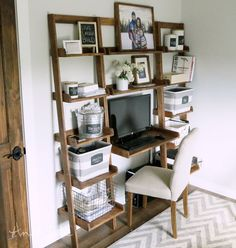 Quick DIY leaning ladder storage unit!  Really cool