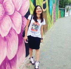 Bershka t-shirt  H&M skirt Nike shoes  Stradivarius backpack