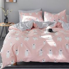 Personalized Blush Pink White and Gray Polar Bear Print Wild Animal Themed Cute Girly Girls Twin, Full Size Sets Twin Size Bedroom Sets, Girls Bedroom Sets, Wood Bedroom Sets, White Bedroom Furniture, Gray Bedroom, Childrens Bedroom, Kids Bedroom, Construction Bedroom, Bedroom Night Stands