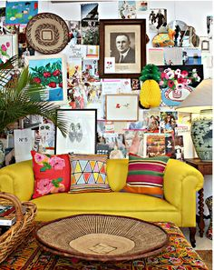 absolutely beautiful things - bright & happy. That pineapple on the wall is killing me giddy.