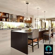 KITCHEN: Island Bench | Waterfall Edge | Feature Lighting | Carlisle Homes Sanctuary 48 | Somerfield Estate, Keysborough | Recreate this look @ http://www.carlislehomes.com.au/inspire/collections/urban-glamour/