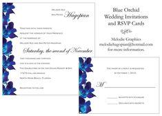 blue orchid wedding invitations - Google Search