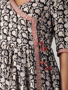 Summer Fashion Tips Black-Ivory Bagh-printed Cotton Angrakha Dress.Summer Fashion Tips Black-Ivory Bagh-printed Cotton Angrakha Dress Simple Pakistani Dresses, Pakistani Fashion Casual, Pakistani Dress Design, Sleeves Designs For Dresses, Dress Neck Designs, Blouse Designs, Frock Fashion, Fashion Dresses, Women's Fashion