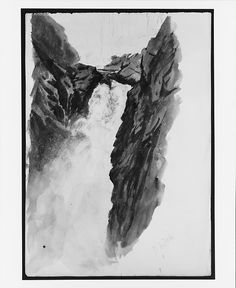 """Handek Falls (from """"Splendid Mountain Watercolours"""" Sketchbook) Artist: John Singer Sargent (American, Florence 1856–1925 London) Date: 1870 Medium: Watercolor and graphite on off-white wove paper Dimensions: 16 x 10 7/8 in."""