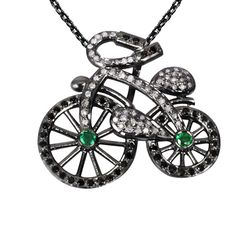 Orchid Jewelry Black Rhodium Silver 1 3/5 Carat Emerald and Diamond Accent Cycle Necklace