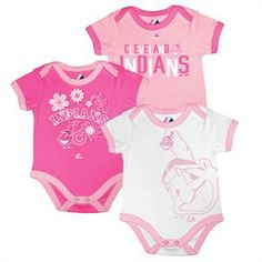 bf2a7722c Indians Bases Loaded Pink Bodysuit Trio #Cleveland #Indians #Baby #Infant  Indian Baby