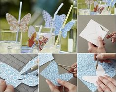 Decoration, Butterflies Paper Diy Drinking Straw Home Made Simple Summer Table Decorations: Creative Ideas Homemade Summer Table Decorations For Garden Party Diy Party Table Decorations, Straw Decorations, Butterfly Decorations, Butterfly Crafts, Decoration Table, Birthday Table, Diy Birthday, Birthday Parties, Butterfly Garden Party