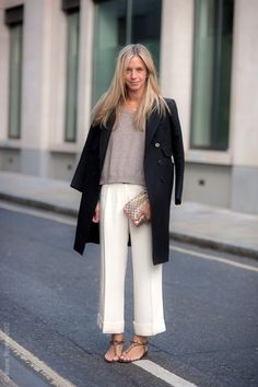 Culottes with sweater and long coat