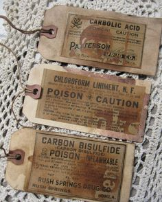 """365daysofhalloween: """" Primitive Halloween Tags Labels Poison by SweetLibertyPrims on etsy """""""
