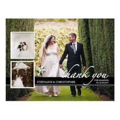 Formal Wedding Thank You Cards Timeless Chic Three Photo Wedding Thank You Postcard