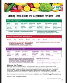 Fruits & Veggies – Have A Plant™ is a national call to action designed to encourage Americans to eat more fruits and vegetables for their better health. Fruit And Vegetable Storage, Fruit Storage, Produce Storage, Food Storage, Vegetable Chart, Planning Menu, Emergency Planning, Storing Fruit, Health Eating